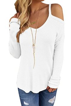 HOTAPEI Loose Knit Sweater for Women White Small *** Check out the image by visiting the link.