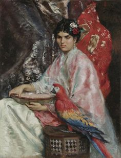 Lady with a Parrot, by Julius LeBlanc Stewart (French-American, 1855-1919)