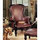 Victorian Rococo Faux Leather Wing Chair by Design Toscano