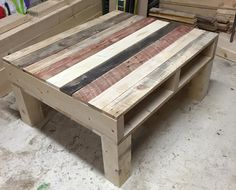 Recycled pallet square shape coffee table