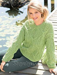 Пуловер с ажурный узором из кос