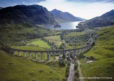 Aerial views of Scotland and England.
