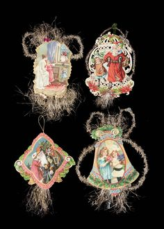 Lot Detail - Lot of Tinsel & Paper Christmas Ornaments. Paper Christmas Ornaments, Homemade Christmas Decorations, Christmas Items, Santa Gifts, Antique Christmas, Handmade Ornaments, Christen, Art Furniture, Dresden