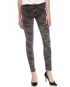 Camouflage-Print Skinny Jeans, Gray
