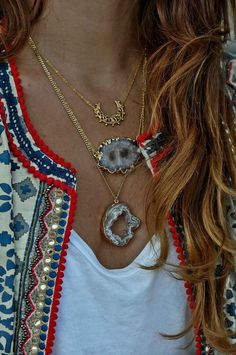 Simona Mar 3 Layers Necklace - Crescent Moon Filigree - Stalactite Slice Quartz - Geode Druzy slab Pendant gold plated - Raw brass chains