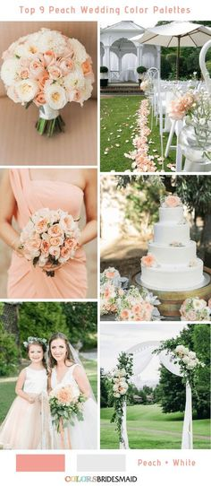 Elegant, sweet and bright, peach will bring sunshine to your wedding decorations. Here we'll share the top 9 peach wedding color palettes ideas for your choice to fit your dreaming wedding. Peach Wedding Theme, Summer Wedding Colors, Cream Wedding, Wedding Themes, Spring Wedding, Wedding Flowers, Wedding Decorations, Peach Weddings, Peach Wedding Bouquets