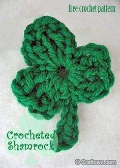 Free Crochet Pattern - Crocheted Shamrock. #craftown #crochet #shamrock