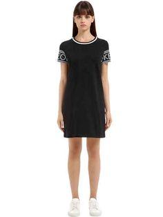 KENZO - LOGO PRINTED COTTON JERSEY DRESS - DRESSES - BLACK - LUISAVIAROMA