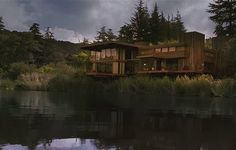 when a stranger calls - Lakeside House. Love the floor to ceiling windows and lake setting!