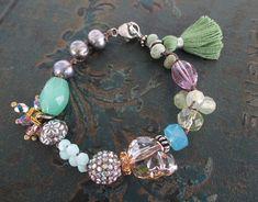 Colorful spring skull bracelet - Renewal -  multi color green purple Swarovski crystal semi precious stone pearl boho by slashKnots