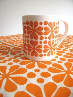 Screenprinted Kitchen Tea Towel Parade in Sunny Orange
