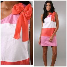 """295$ CHLOE colorblock dress. Brand new! See By Chloe dress, retail for 295$. Talk about a gorgeous dress in bright colors! Colorblock one shoulder dress features an asymmetrical neckline and on seam front pockets. Comes in pink/white/orange colors, straight skirt, gold links at silk bow detail. hidden side zip. New without tag.  34"""" long, measured from shoulder.  Fabrication: Woven. 74% cotton/26% linen. Combo: 100% silk. Wash cold or dry clean. No trade. Chloe Dresses Mini"""