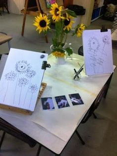 Great display of still life drawings. Teachers need to be intentional in what they display to inspire learning #Reggio Emilia