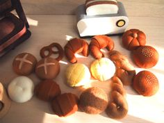 Different types of felt breads. Some of these don't seem like they'd be too difficult