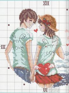 sumer our happy love Cross Stitch For Kids, Cross Stitch Love, Cross Stitch Designs, Cross Stitch Patterns, Stitch Character, Crochet Cross, Quilt Block Patterns, Kirigami, Beading Patterns
