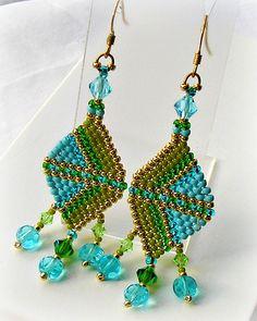 Geometric Seed Bead Earrings - Bead Woven, Art Deco, Brick Stitch Earrings, Geometric, Color Block via Etsy
