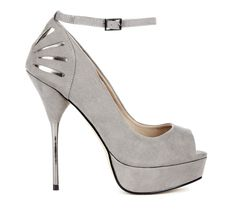 Grey suede cut-out heel