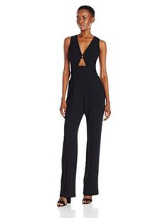 b7ceed650a5 ABS Allen Schwartz Womens DeepV Jumpsuit with Front CutOut in Crepe Woven  Black 8   Want