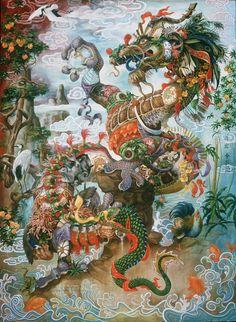 Heidi Taillefer's Oil Paintings Reference Mythology, Technology    #art #artist #femaleartist #womanartist #painting #oilpainting #mythology #technology #surrealism #surreal #2dart #animals #wildanimals #machines #contemporaryart #sciencefiction #romanticism
