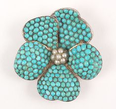 Pave turquoise pansy brooch  Victorian