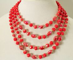 Vintage Cherry Red Four Strand Bead Necklace by IRENESVINTAGEBLING