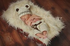 Newborn Hat Newborn Boy Hat Baby Boy Teddy by ChunkyMonkeyBeanies, $50