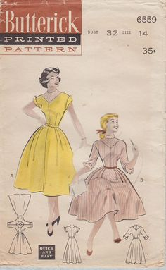 Hey, I found this really awesome Etsy listing at https://www.etsy.com/listing/533861513/butterick-6559-vintage-50s-sewing