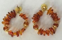 Gold plated Amber free shape beads round shape earrings with push backs