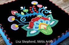 Lisa Shepherd, Métis Artist designs and produces culturally inspired custom garments and provides workshops, presentations and teachings of cultural artwork and dance. The brand is recognized. Beading Projects, Beading Tutorials, Beading Patterns, Beading Ideas, Bracelet Patterns, Native Beadwork, Native American Beadwork, Beaded Moccasins, Beadwork Designs