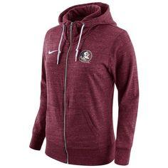 Women's Nike Florida State Seminoles Gym Vintage Fleece Hoodie ($65) ❤ liked on Polyvore featuring tops, hoodies, red, red hoodie, purple hooded sweatshirt, long sleeve hoodie, sweatshirt hoodies and red top