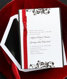 Invitación de boda en blanco, negro y rojo. // wedding invitation black, white and red