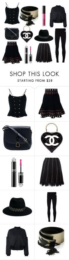 """Black Bonanza"" by donna-wang1 ❤ liked on Polyvore featuring Chanel, Alexander McQueen, Louis Vuitton, Guerlain, Alexander Wang, Maison Michel, NIKE, Y-3, Jean-Louis Scherrer and LORAC"