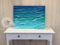 Quadro mare estate onde oceano blu dipinto a mano su tela con colori acrilici misure 50x70 cm originale unico firmato dall'artista fine art di azzumail su Etsy #italiasmartteam #mare #dipintoamano #estate