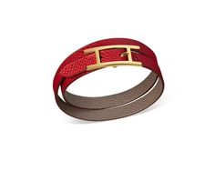 """Behapi Double Tour Hermes reversible leather bracelet (size XS) Grey/casaque red epsom calfskin<br /><br />Gold plated hardware, double tour, 14.5"""" long, 0.5"""" wide, 2"""" diameter, <6.7"""" circumference.<br />"""