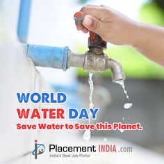Save Water to Save this Planet. World Water Day, Job Portal, Trending Topics, Save Water, Planets