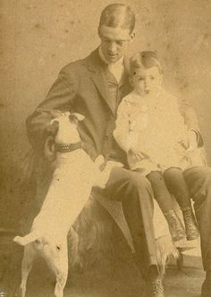 Cabinet Card Vintage Photo Young Dad with Baby and Terrier Dog | eBay