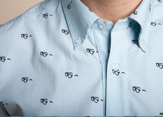 """I Was Never Cool In School"" broken glasses repeat print light blue oxford 
