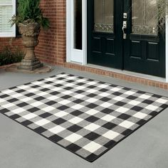 Millwood Pines Wiest Plaid Black/Cream Indoor/Outdoor Area Rug & Reviews | Wayfair