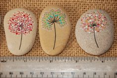 Painted Stone Dandelion Pebbles with Nature Designs floral Pebble Painting, Dot Painting, Pebble Art, Stone Painting, Rock Painting Patterns, Rock Painting Ideas Easy, Rock Painting Designs, Art Patterns, Painted Rocks Craft