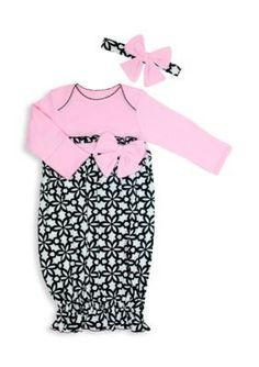 Nursery Rhyme  2-Piece Floral Print Gown and Headband Set