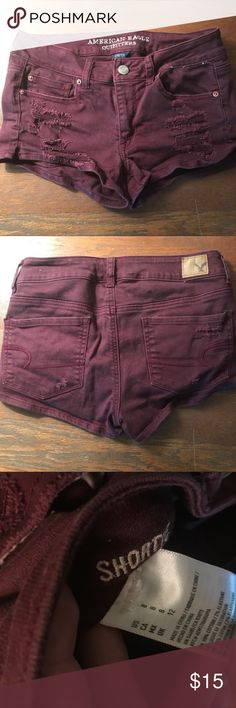 Burgundy distressed AE jean shorts Only wore once 🖤 excellent condition 🖤 Shortie's American Eagle Outfitters 🦅 American Eagle Outfitters Shorts