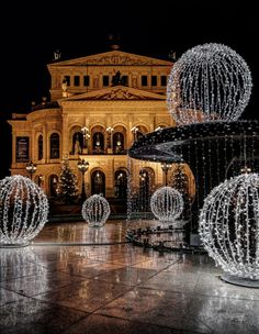 """from Frankfurt/Germany! A reload from last year showing the """"Alte Oper"""" in Frankfurt. Holiday Lights, Christmas Lights, Merry Christmas, Wonderful Places, Beautiful Places, Travel Around The World, Around The Worlds, German Christmas Markets, Christmas Shopping"""