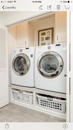 A small laundry room can be a challenge to keep laundry room cabinets functional, yet since this laundry room organization space is constantly in use, we have some inspiring design laundry room ideas. Tiny Laundry Rooms, Laundry Room Remodel, Laundry Room Cabinets, Laundry Room Organization, Laundry Room Design, Laundry In Bathroom, Diy Cabinets, Small Laundry Closet, Small Laundry Area