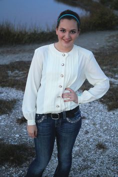 White Blouse M Women's LongSleeve with by FoxandFawnDesign on Etsy, $19.95