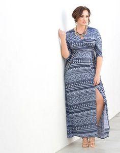 9a7c587e3ed Kiyonna Women s Plus Size Moroccan Maxi Wrap Dress at Amazon Women s  Clothing store