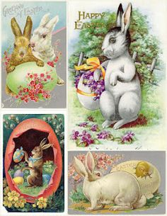 vintage Easter cards with really cute rabbits!