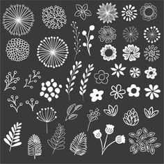 This chalkboard style floral set includes 43 hand-drawn elements! Use these beautiful elements to easily create unique stationery, decorations, labels, and more! All elements are high-quality 300dpi files files, suitable for print or digital projects. *Please note that this is a digital download, and will not include any physical items* What You Get: • All 43 elements with a white fill color, in their own separate files (.PNG format, transparent background) • All 43 elements with a black…