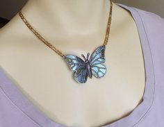 Butterfly Necklace - Fairy Jewelry - Iridescent Colors Hand Painted Butterfly Choker w/ Brass Chain - Faerie Necklace in Blue, Green, Purple