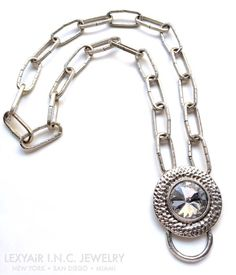 Silver links & #crystal long #necklace, perfect to pair w a #MaxiDress. LEXYAiR I.N.C. J#EWELRY #SS2015 #NYC