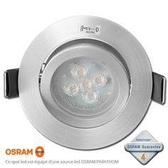 Spot Led Encastrable GU10 Dimmable avec led OSRAM Acier 4.6W rendu 50W 36° 4000K Luminaire Led, Spots, Diffuser, Luminous Flux, Color Temperature, Steel, Loudspeaker Enclosure